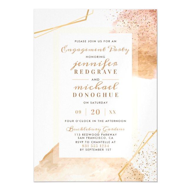 Glam Gold Painted Dots Geometric Engagement Party Magnetic Invitation