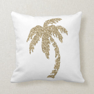 Glam Gold Palm Tree White Pillow Cushion Throw