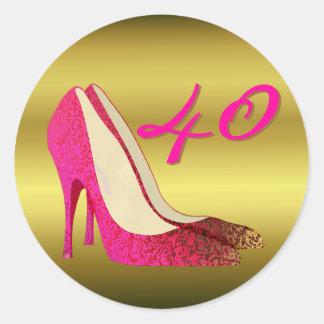 Glam Gold & Pink Stiletto Birthday Classic Round Sticker