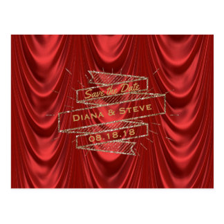 Glam Gold Red Wedding | Elegant Save the Date Postcard
