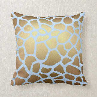 Glam Golden Blue Giraffe Safari Skin Throw Pillow