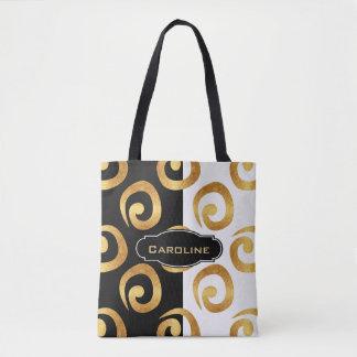 Glam Golden Curls with Custom Monogram Tote Bag