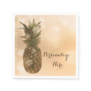 Beach Themed Glam Golden Pineapple Elegant Tropical Party Napkin