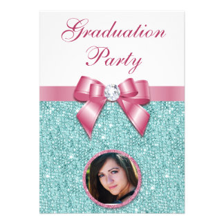 Glam Graduation Party Bow Diamonds Add Your Photo Card