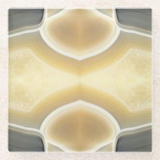 Glam Gray Beige Agate Gemstone Crystal Pattern Glass Coaster