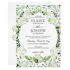 Glam Greenery Wedding Invitations at Zazzle