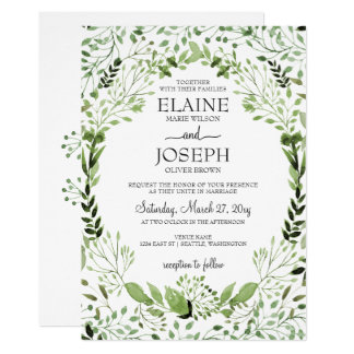 Glam Greenery wedding invitations