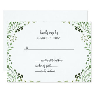 Glam Greenery wedding invitations rsvp