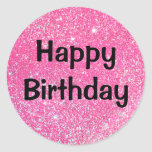 "Glam Happy Birthday Black Hot Pink Glitter Sparkle Classic Round Sticker<br><div class=""desc"">Happy Birthday round sticker with glam hot pink glitter sparkles and bold black writing.</div>"