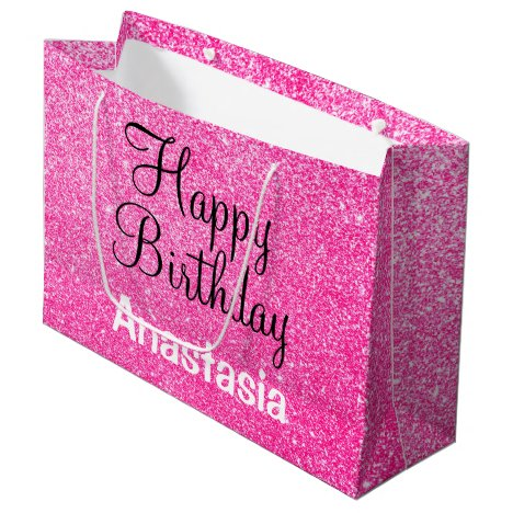 Glam Happy Birthday Hot Pink Glitter Sparkle Name Large Gift Bag