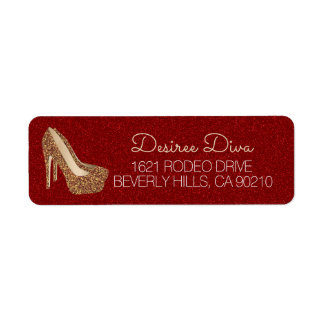 Glam High Heel Shoes | Red Gold Glitter Diva Label