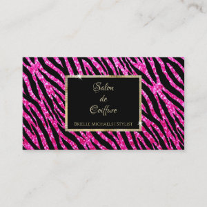 Glam Hot Pink Glitter Zebra Print and Gold Frame Business Card