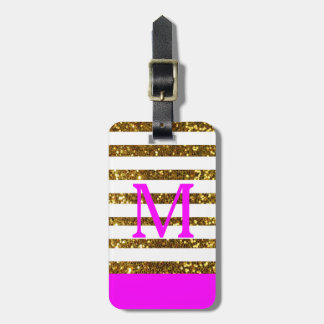 Glam/Hot Pink Gold Sequins/Personalized Luggage Tag