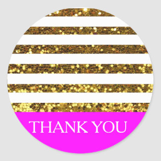 Glam/Hot Pink Gold Sequins Stripes/Personalized Classic Round Sticker