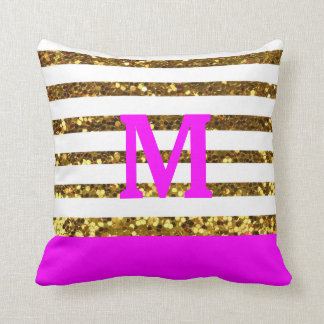 Glam/Hot Pink Gold Sequins Stripes/Personalized Pillow