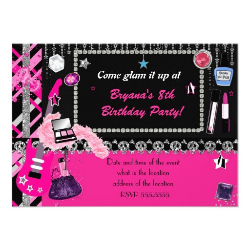 Personalized Glam rock Invitations CustomInvitations4Ucom