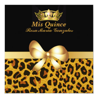 Glam Jaguar Print & Crown Quinceañera Invitation