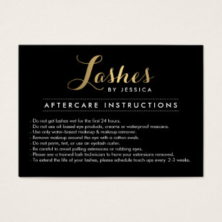 Glam Lashes Script Text Lash Salon Aftercare Card