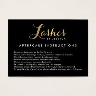 Glam Lashes Script Text Lash Salon Aftercare Card