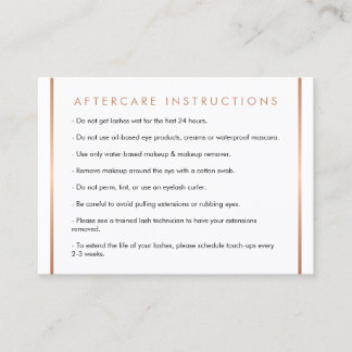 Glam Lashes Script Text Rose Gold Aftercare Card