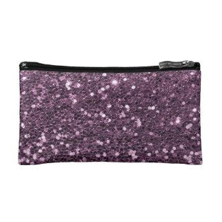 Glam Lavender Purple Faux Glitter Print Cosmetic Bag