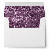 Glam Lavender Purple Faux Glitter Print Envelope