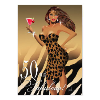 Glam Leopard Bombshell 50th Birthday | tan Card