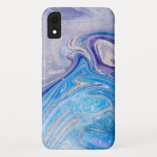 Glam light blue purple silver glitter marble iPhone XR case