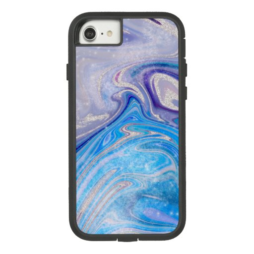 Glam light blue purple silver glitter marble Case-Mate tough extreme iPhone 8/7 case