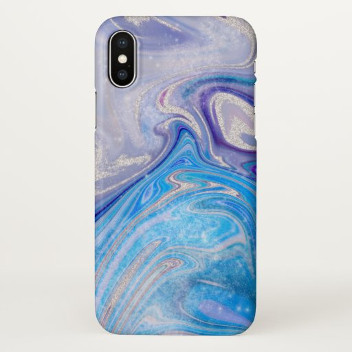 Glam light blue purple silver glitter marble iPhone x case