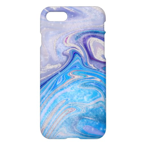 Glam light blue purple silver glitter marble iPhone 8/7 case