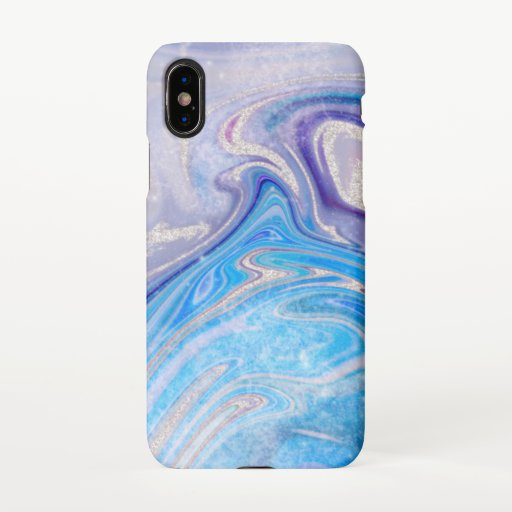 Glam light blue purple silver glitter marble iPhone XS case