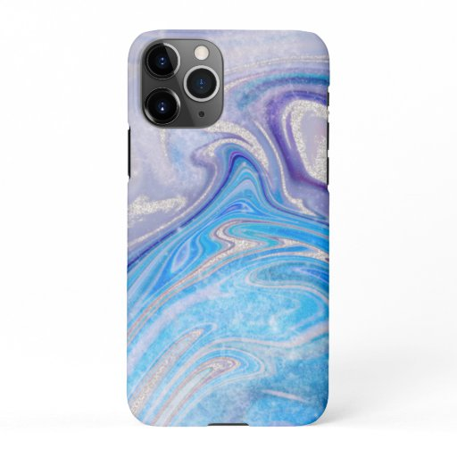 Glam light blue purple silver glitter marble iPhone 11Pro case