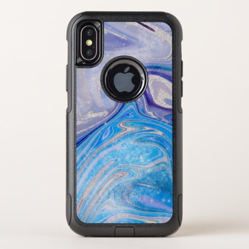 Glam light blue purple silver glitter marble OtterBox commuter iPhone XS case