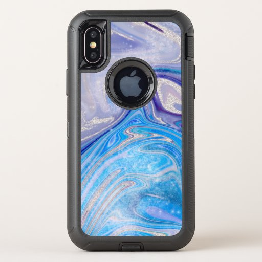Glam light blue purple silver glitter marble OtterBox defender iPhone XS case