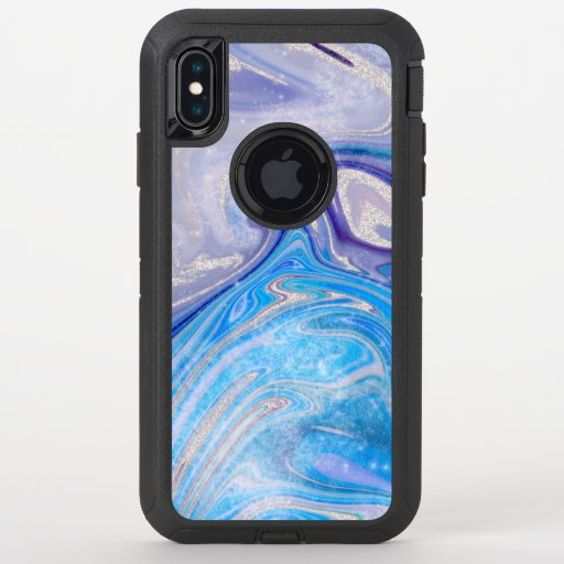 Glam light blue purple silver glitter marble OtterBox defender iPhone XS max case
