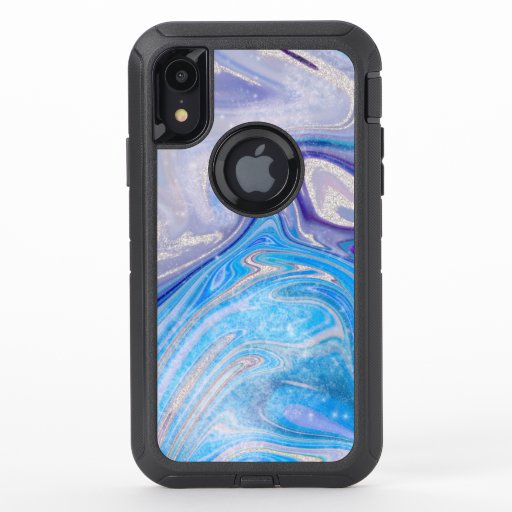 Glam light blue purple silver glitter marble OtterBox defender iPhone XR case