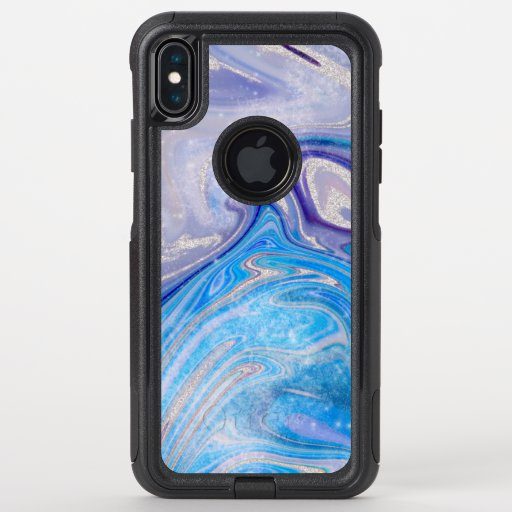 Glam light blue purple silver glitter marble OtterBox commuter iPhone XS max case