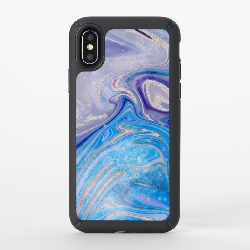 Glam light blue purple silver glitter marble speck iPhone x case