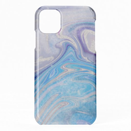 Glam light blue purple silver glitter marble iPhone 11 case