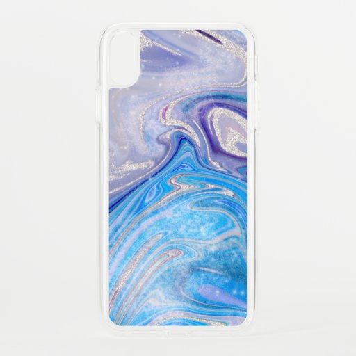 Glam light blue purple silver glitter marble iPhone XS max case
