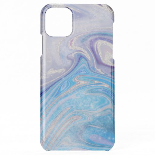 Glam light blue purple silver glitter marble iPhone 11 pro max case