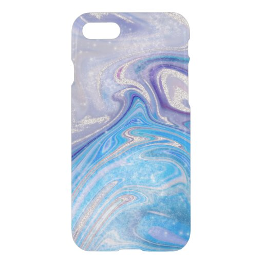 Glam light blue purple silver glitter marble iPhone SE/8/7 case