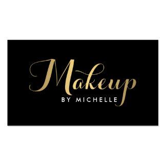 Glam Makeup Script Text Gold/Black Business Card