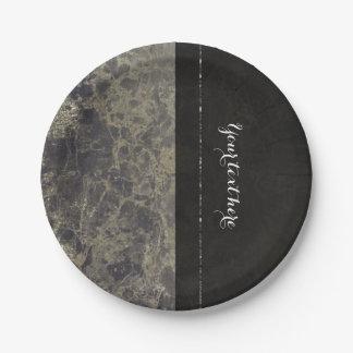 Glam Marble Granite Shimmer Elegant Designer Style Paper Plate