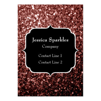 Glam Marsala Brown-Red Glitter sparkles Monogram Large Business Cards (Pack Of 100)