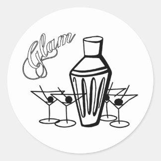 Glam Martini Mix - Black & White Classic Round Sticker