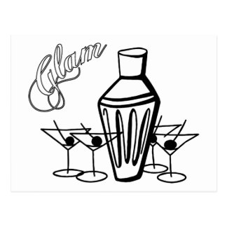 Glam Martini Mix - Black & White Postcards