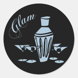 Glam Martini Mix - Blue Classic Round Sticker