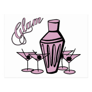 Glam Martini Mix - Pink Post Card